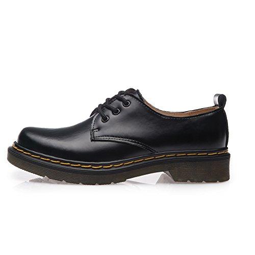 Shenn Negro Casual Mujer Uniforme Oxfords Cordones De Trabajo Zapatos Vestir SU1pSwWrq