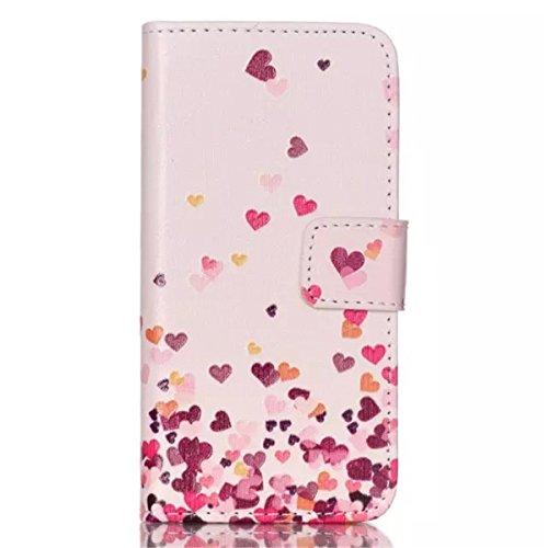 iPhone 5C Coque , Apple iPhone 5C Coque Lifetrut® [ Colorful Amour ] [Wallet Fonction] [stand Feature] Colorful Magnetic snap Wallet Wallet Prime intégré dans la carte Slots flip Coque Etui pour Apple