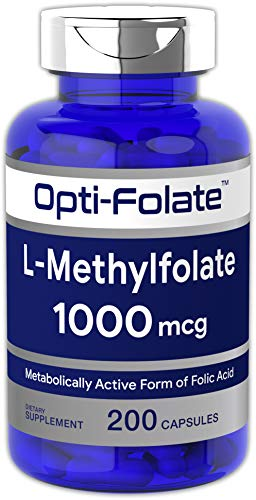 Opti-Folate L-Methylfolate 1000 mcg (200 Capsules) | Optimized and Activated | Huge Size | Non-GMO, Gluten Free | Methyl Folate, ()