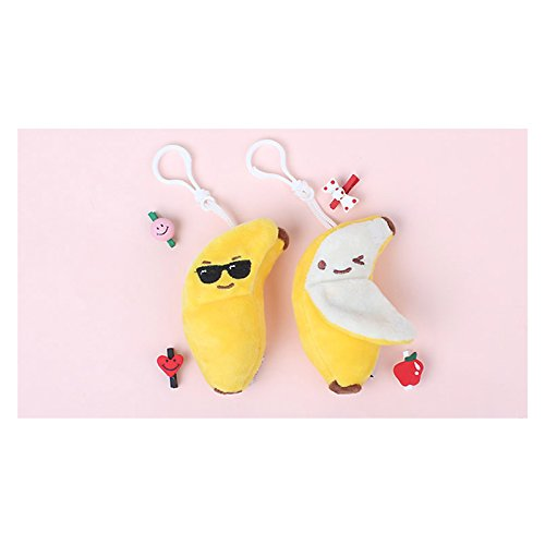 Banana Dual Face Plush Clip Key Accessory Key Chain Charm (2 Types) - Face Sunglasses Types For