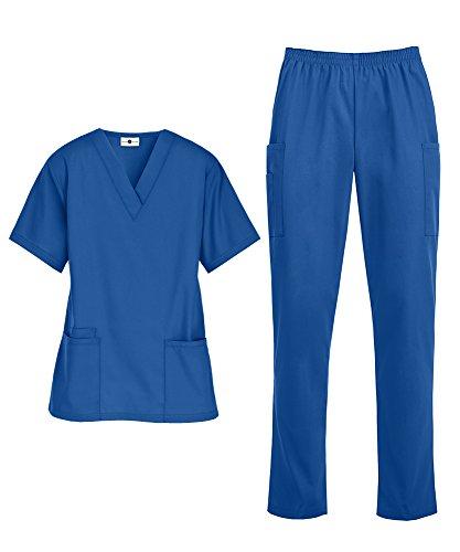 (Women's Medical Uniform Scrub Set – Includes V-Neck Top and Elastic Pant (XS-3X, 14 Colors) (X-Large, Royal))