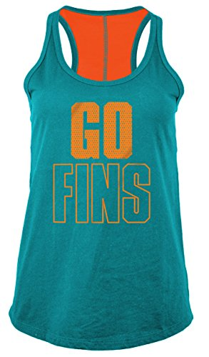 5th & Ocean NFL Miami Dolphins Women's Baby Jersey Racer Back Tank Top with Contrasting Colors, X-Large, Aqua