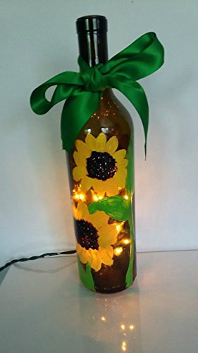 Yellow Sunflower Hand Painted Lighted Wine Bottle Lamp (Hand Painted Bathroom)