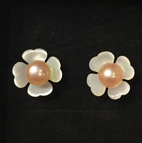 QQZEAL four petals vivid carved Exquisite White Lip Shell Flower Beads,White Mother of Pearl with pearl and sterling silver earing studs (12mm, 5A grade white four petals with pink pearl bead) (Lip Pearl Shell Of Mother)