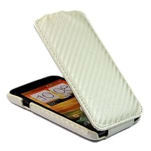 Luxury Carbon Fibre Flip Leather Skin Case Cover for HTC Desire VC T328d White