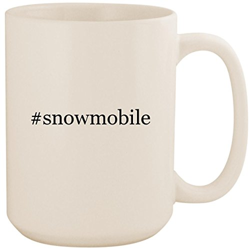 #snowmobile - White Hashtag 15oz Ceramic Coffee Mug Cup