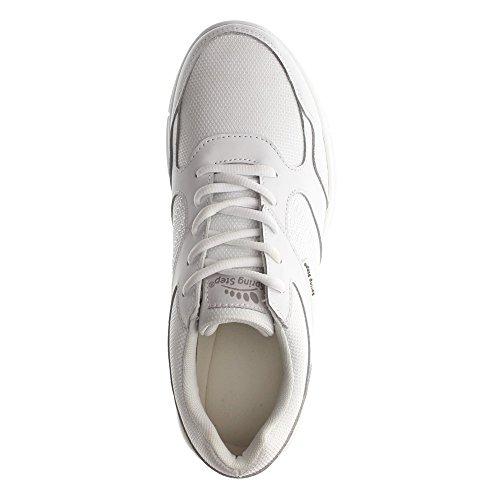 Våren Steg Pro Mens Ramon Läder, Textil, Gummi Antibakteriella Sneakers Vita