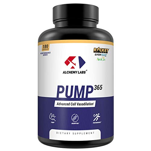 Alchemy Labs – Pump 365 – Nitric Oxide Booster – GlycerPump, GlycerSize, AstraGin, L Norvaline, Vanadyl Sulfate, Glycerol, Muscle Building, Pump Supplement, 180ct Pills