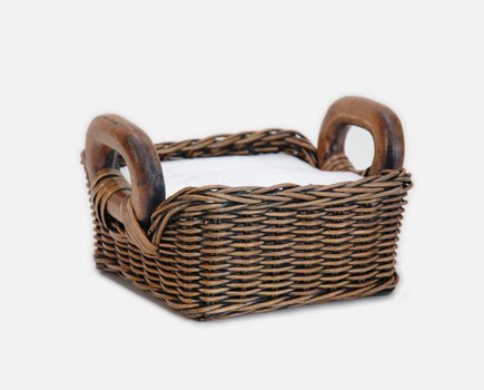The Basket Lady Fancy Wicker Napkin Basket Small (size 2) Antique Walnut Brown
