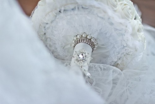 Ivory Rose flower bridal brooch bouquet Wedding Bride 's Jewelry Pearl Rhinestone Cloth fabric Bouquets
