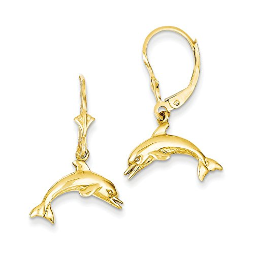 - 14k Yellow Gold Polished Open back Jumping Dolphin Leverback Earrings
