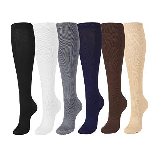 Faleto Compression Socks 20-30mmHg High Knee Nurse Socks for Men & Women - Best Stockings for Running, Nurses, Athletic, Pregnancy, Teacher, Edema, Varicose Veins