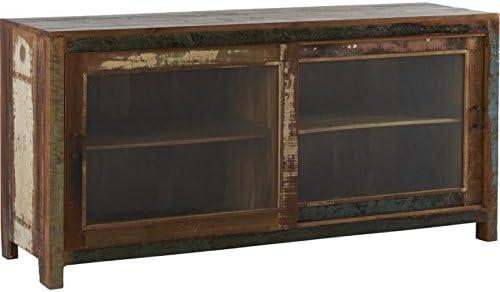 Enfilade vitrée puerta corredera de madera reciclada, 176 x 53 x H85 cm: Amazon.es: Hogar
