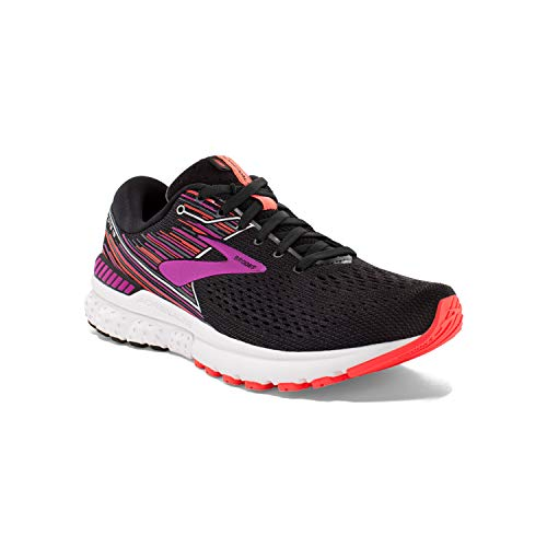 Brooks Womens Adrenaline GTS 19 Running Shoe - Black/Purple/Coral - D - 7.5