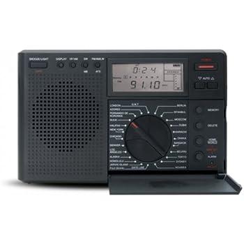 Grundig Eton Digital G8 Radio (NG8B Compact 4 Band World Time Radio) - Battery or Mains Electric (optional) - Compact / Portable - Headphone Socket - Digital Display - AM, FM, LW, MW, SW - Black Colour