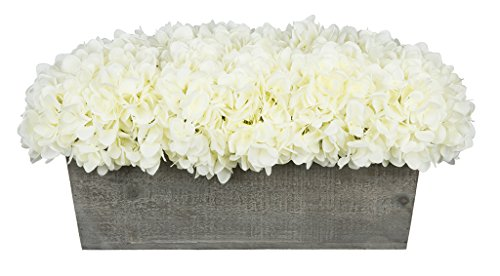 Hydrangea Centerpiece (House of Silk Flowers Artificial Hydrangeas in Grey-Washed Wood Ledge (White))