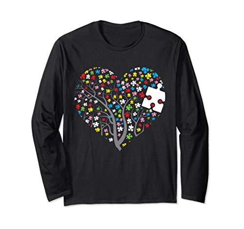 - Autism Tree Hearts Long Sleeve Shirt Puzzle Autism Awareness