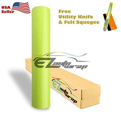 Free Tool Kit EZAUTOWRAP Gloss Neon Yellow Green Car Vinyl Wrap Sticker Decal Sheet Bubble Free - 24