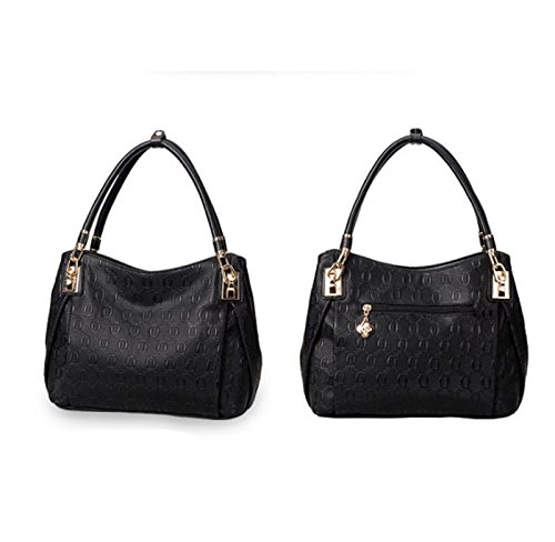 sac lady femme sac cuir bandoulière main à HAOYUXIANG tendance Couleur unique Fashion sac à en Noir Silver qT0wCxfg