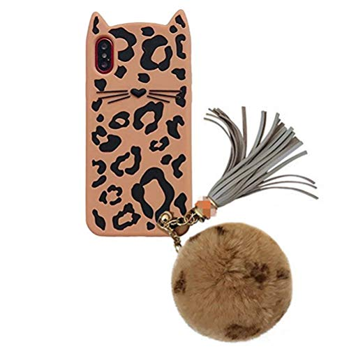 iPhone Xs Max Case, Anya Crystal Silicone 3D Cute Ears Leopard Cat Print Soft Case Fluffy Ball Phone Strap Pom Pom Furry Pendant Shockproof Rubber Bumper Shell Case for iPhone Xs Max 6.5inch Brown