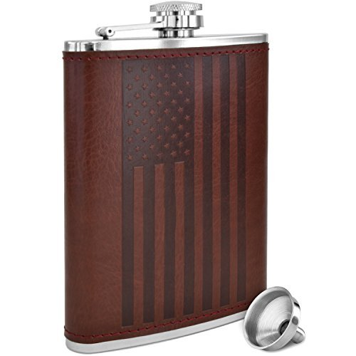 American Flag Flask - 8 oz Premium Soft Touch Leather Wrap | 18/8 304 Highest Food Grade Stainless Steel | Leak Proof Slim Hip Flasks | Classic American Flag Design ()