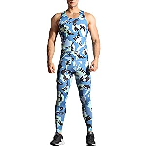 Findci Compression Sleeveless Shirt Long Pants Mens Camouflage Sports Clothings Workout Tight Suits
