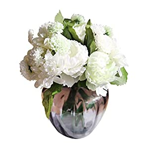 XHSP 1 Bunch 8 Heads Artificial Pony Dahlia Daisy Flower Bouquet Fake Home Arrangement Flowers Bride Bridesmaid Holding Flowers Home Office Wedding Party Garden Craft Art Decor(Vase Not Included) 86