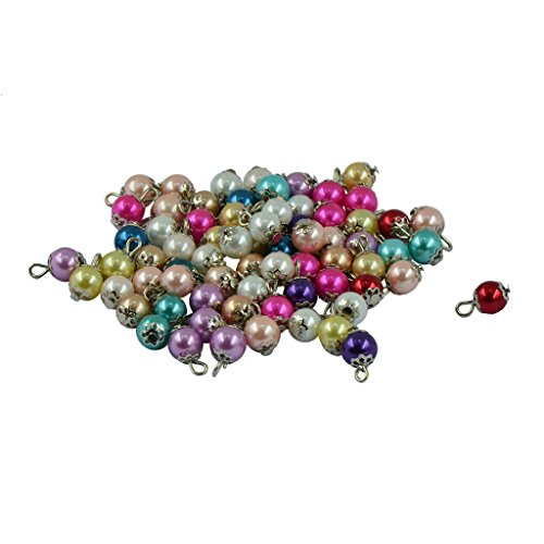 MagiDeal 50 Pieces Fancy Colorful Glass Pearl Daisy Cap Charms Pendant Loose Beads Jewelry Making - Caps Daisy Bead