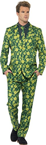 St Patricks Day Suit (Smiffy's Men's Shamrock Suit, Jacket, pants and Tie, Stand out Suits, Serious Fun, Size XL, 23525)