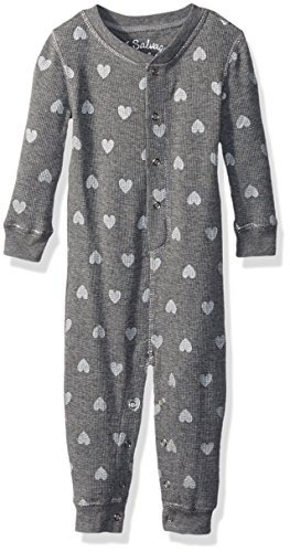 PJ Salvage Kids Baby Girls Romper Thermal Heart Pj, Heather Grey, 6/12 Mo