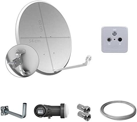 Satycon - Kit Antena parabolica 60cm + lnb+ Soporte Pared ...