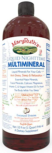 ORGANIC LIQUID NIGHTTIME MULTIMINERAL by MARYRUTH (Coconut) Highest Purity Organic Ingredients, Vitamins, Minerals, Magnesium & MSM builds essential tissue while providing for a deeper sleep. VEGAN!