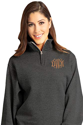 - Zynotti Unisex Customized - Personalized Embroidered Monogrammed Black Heather Quarter Zip Pullover Sweater - Small