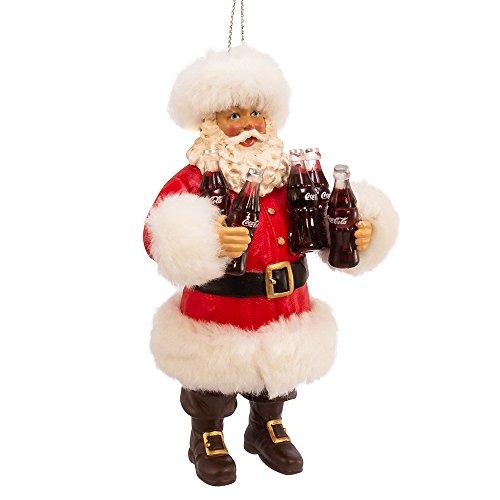 (Kurt Adler Kurt S. Adler 5-Inch Santa Holding Coca-Cola Bottles Ornament)