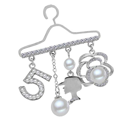 Women Brooch Pins in Hanger Style with Faux Crystal Pearls FlowerNumber (Color - Silver)