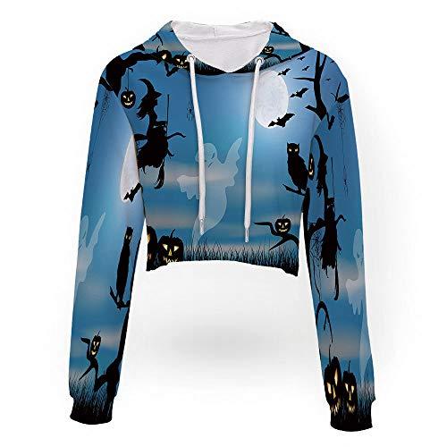 iPrint Women's Long Sleeve Sweatshirt,Halloween,Print Crop Hoodie Sweatshirt