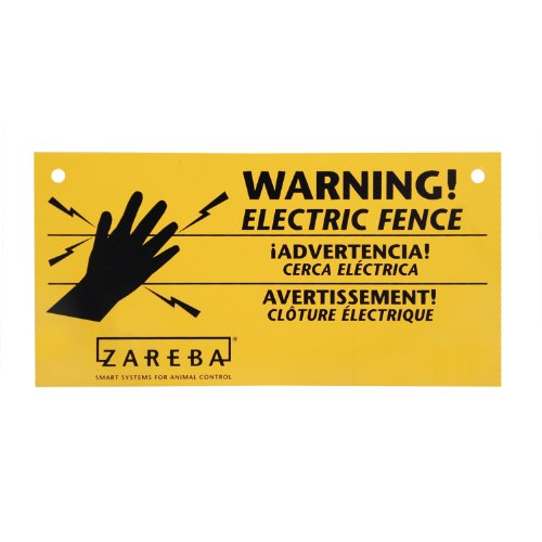 Fence Sign - Zareba 680828 WS3 3-Pack Electric Fence Warning Signs