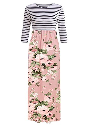 Pockets Striped Print 4 Women's Floral Sleeve Maxi Pink Elastic with Floral 3 Waist OURS Dress wx7pq