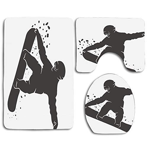 (huachuangxinlHUQ Snowboard Silhouette of Snowboarder Jumping Activity Adrenaline Soft Comfort mat Anti-Skid Absorbent Toilet Seat Cover Bath Mat Lid Cover 3pcs/Set Rugs)