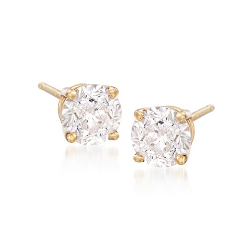 - Ross-Simons 4.00 ct. t.w. CZ Stud Earrings in 18kt Yellow Gold