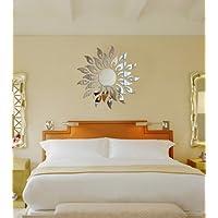 Calcomanía de pared con espejo de acrílico 3D de flor redonda Toprate Sunshine Fire, plateado (1, plateado)