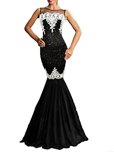 long black mesh prom dress - 4
