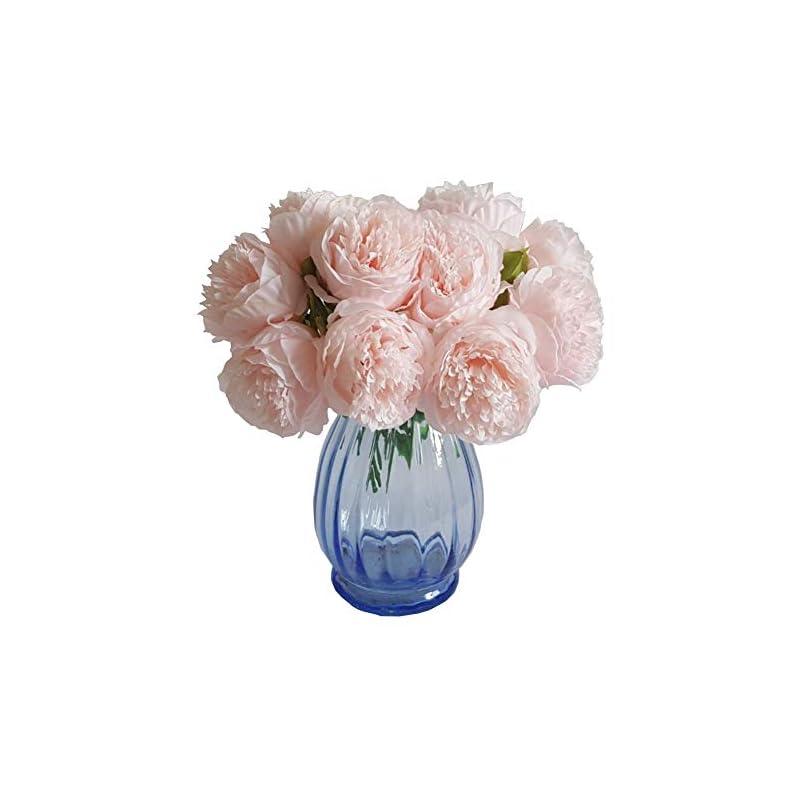 silk flower arrangements eternal blossom silk peony bouquet, 5 artificial bouquets bridal bouquet wedding party flower home garden decoration (light pink)