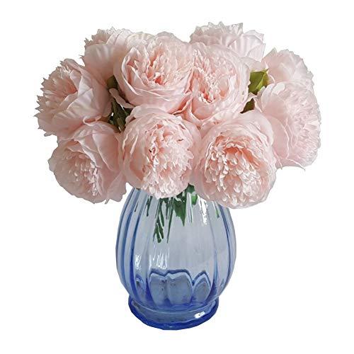 Blossoms Pink Garden Bouquet - Eternal Blossom Silk Peony Bouquet, 5 Artificial Bouquets Bridal Bouquet Wedding Party Flower Home Garden Decoration (Light Pink)