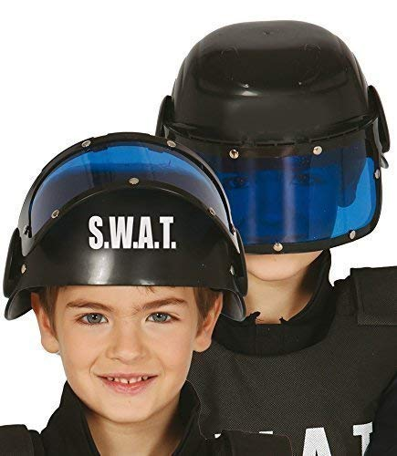 Boys Girls Police SWAT Helmet Hat with Visor Uniform Fancy Dress Costume Outfit Accessory