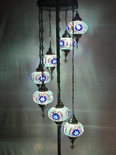 7 balls Turkish mosaic floor lamp handmade glass lighting ottoman moroccan