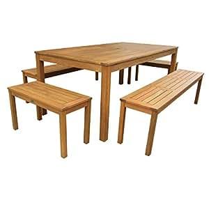 Charles Bentley madera banco y asiento Tabla 5 piezas Conjunto Jardín Patio Muebles 6-8