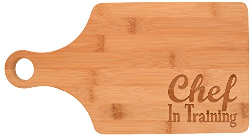 Chef in Training Youth Childrens Beginner Cooking Gift Paddle Shaped Bamboo Cutting Board Bamboo by Gifts For Value (Image #1)