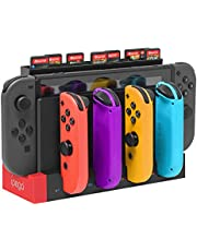 FYOUNG Controller Charger Compatible with Joy Cons Controller, Charging Dock Base Station Replacement for Joy Cons and Game Card Storage Holder with 28 Game Card Slots Accessories Kits Compatible with Nintendo Switch