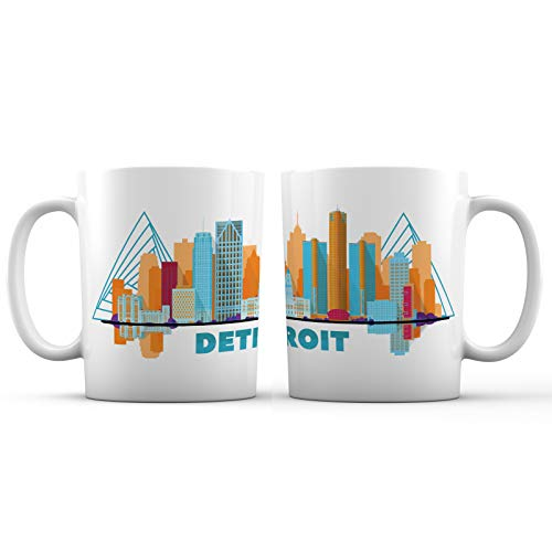 Detroit City Skyline View Ceramic Coffee Mug - 11 oz. - Awesome New Design Decorative Souvenir Gift Cup for Travelers, Women and Men